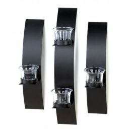 Black Wall Candleholder Set