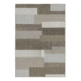 5' x 7'6 Brown Sand Modern Geometric Stripe Area Rug