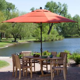 Outdoor 11-Ft Patio Umbrella with Push Button Tilt with Brick Red Orange Shade