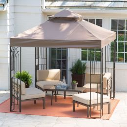 8 x 8-Ft Steel Frame Gazebo with Outdoor Weather Resistant Top Vent Canopy