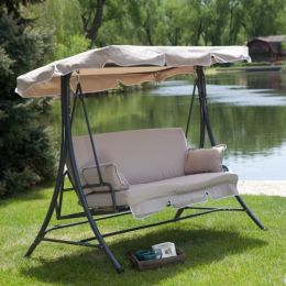 3-Person Canopy Swing Outdoor Porch Patio Furniture in Taupe