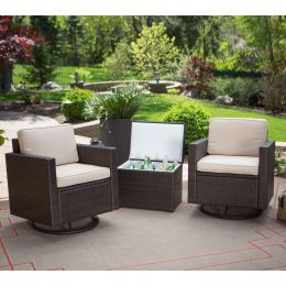 Outdoor Wicker Resin 3-Piece Patio Furniture Dining Set with Cooler Side Table