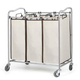Heavy Duty Laundry Cart with 3 Beige Hamper Bags and Lockable Wheels