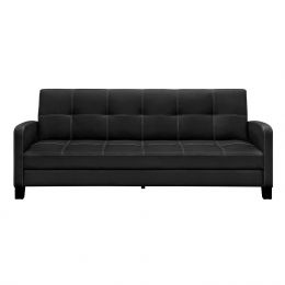Classic Black Faux Leather Futon Sofa Sleeper