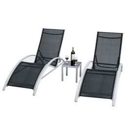 3 Piece Complete Black Outdoor Patio Pool Lounger Set