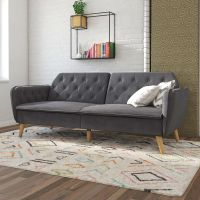 Memory Foam Futon Sofa Bed with Grey Velvet Upholstery and Wooden Legs
