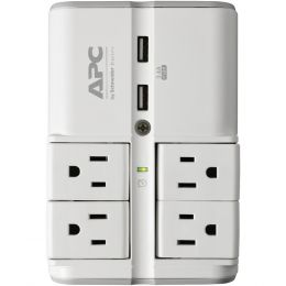 Apc Essential Surgearrest 4-rotating-outlets Wall Tap With 2 Usb Charging Ports