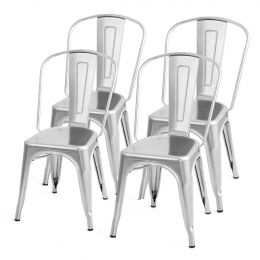 Set of 4 Indoor Outdoor Metal Stacking Bistro Dining Chairs in Silver Finish