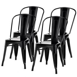Set of 4 Indoor Outdoor Black Metal Stacking Bistro Dining Chairs