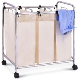 Laundry Cart Bathroom Bedroom 3-Bag Clothes Hamper with Casters