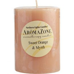 Sweet Orange and Myrrh Essential Blend One 3x4 Inch Pillar Essential Blends Candle. Burns Approx. 80 Hrs. For Anyone