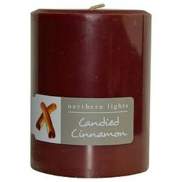 Candied Cinnamon One 3x4 Inch Pillar Candle. Burns Approx. 80 Hrs. For Anyone