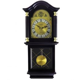 Bedford Clock Collection 26 Inch Chiming Pendulum Wall Clock in Antique Mahogany Cherry Oak Finish