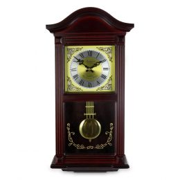 Bedford Clock Collection 22 Inch Wall Clock in Mahogany Cherry Oak Wood with Brass Pendulum and 4 Chimes