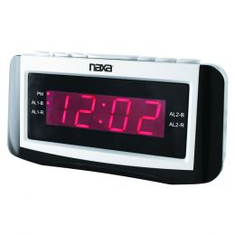 Naxa PLL Digital Alarm Clock with AM/FM Radio, Snooze &Large LED Display