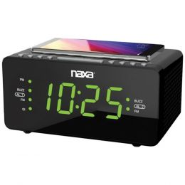 "Naxa NRC-191 Dual Alarm Clock with Qi Wireless Charging (1.2"" Large Display)"
