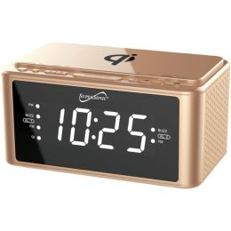 Supersonic SC-6030QI-GD Clock Radio with Qi Wireless Charging Station (Gold)